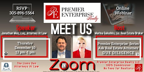 "Premier Enterprise Series   ""ASK REAL ESTATE ATTORNEY.  DUE DILIGENCE"" tickets"