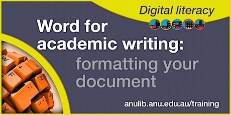 Word: formatting your document webinar tickets