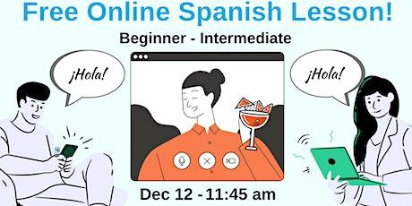 Free Online Spanish Lesson - Intermediate (A2-B1 tickets