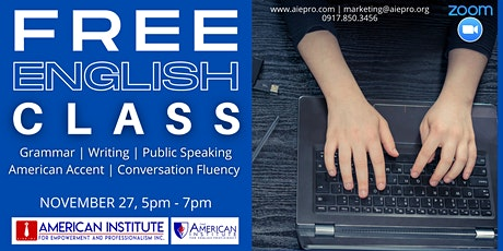 FREE English & Communication Excellence Class tickets