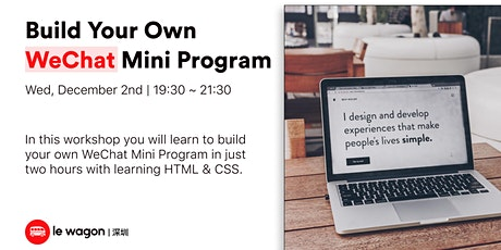 Build Your Own WeChat Mini Program tickets
