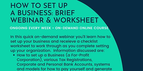 How to Start & Set-up a Business: Brief Webinar and Checklist/Worksheet-NY tickets