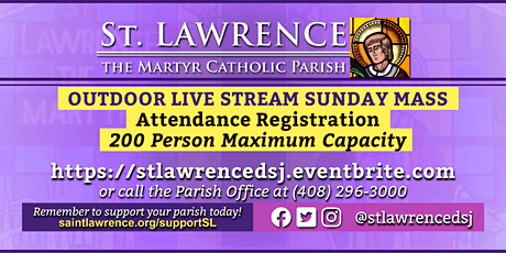 SUNDAY, December 6 @ 11:00 AM LIVE STREAM Mass Registration tickets