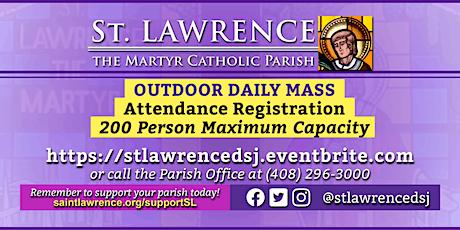 MONDAY, December 7, 2020 @ 8:30 AM DAILY Mass Registration tickets
