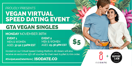 Isodate's GTA Vegan Virtual Speed Dating tickets