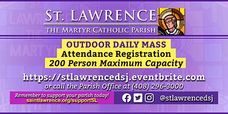 SATURDAY, December 12, 2020 @ 8:30 AM DAILY Mass Registration tickets