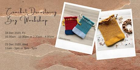 Advanced Beginner Crochet Drawstring Bag Workshop