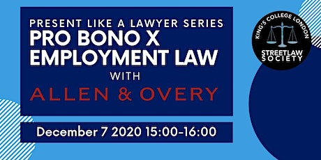 Present Like a Lawyer Series: Pro Bono x Employment Law with A&O tickets