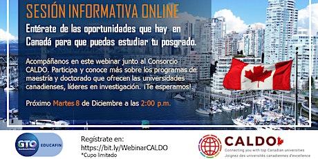 Sesión informativa online - Posgrados en Canadá con CALDO entradas