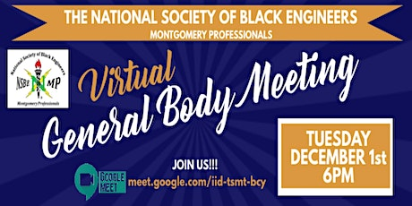 NSBE Montgomery Professionals Virtual Meeting (Tues, Dec 1st, 6pm) tickets