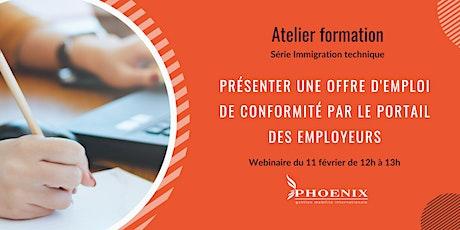 Présenter une offre d'emploi de conformité par le portail des employeurs billets