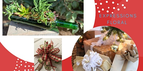 Wine bottle with succulents and Holiday Decorative Bow Making tickets