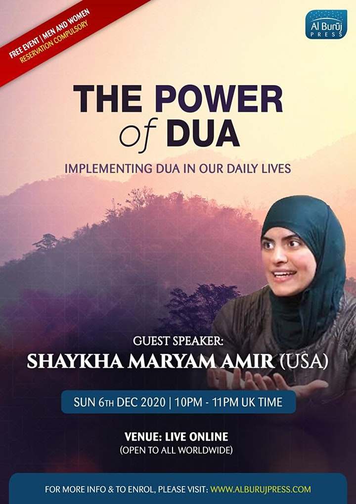 The Power of Dua with Shaykha Maryam Amir (USA): FREE Seminar! image
