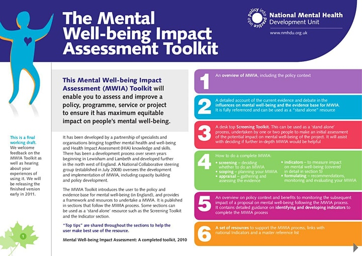 Mental Wellbeing Impact Assessment Tool Training - Auckland image