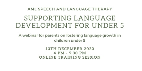 Supporting Language Development For Under 5s tickets