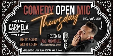 Thursday Night's - Comedy Open Mic @ Carmela Coffee Co. (Delray Beach) tickets