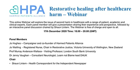 Restorative  healing after healthcare harm - HPA Webinar tickets