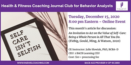 Health and Fitness Coaching Journal Club for Behavior Analysts (December) tickets