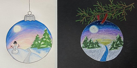 How to draw a Holiday Ornament using colored pencils tickets
