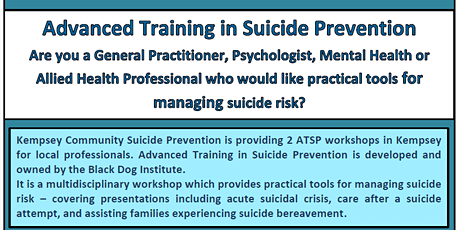 Advanced Training in Suicide Prevention - Black Dog Institute tickets
