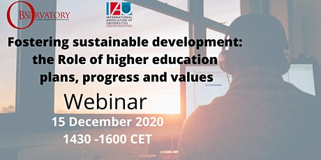 Fostering sustainable development: the Role of HE- plans, progress & values tickets