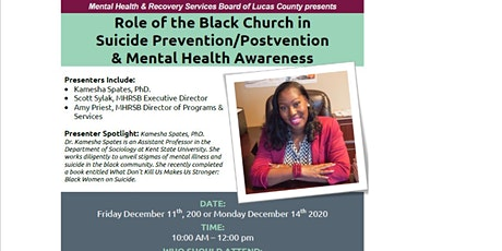 The Role of the Black Church in Suicide prevention/postvention and mental h tickets
