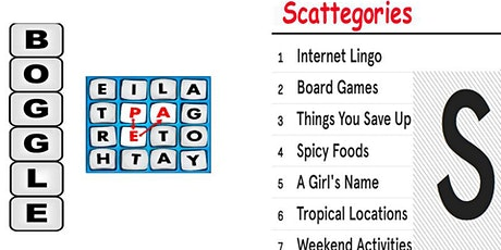 Scattegories and Boggle Your mind  Fundraiser (live host) via Zoom (EB) tickets