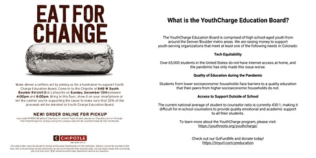 YouthCharge Chipotle Fundraiser Eat For Change! tickets