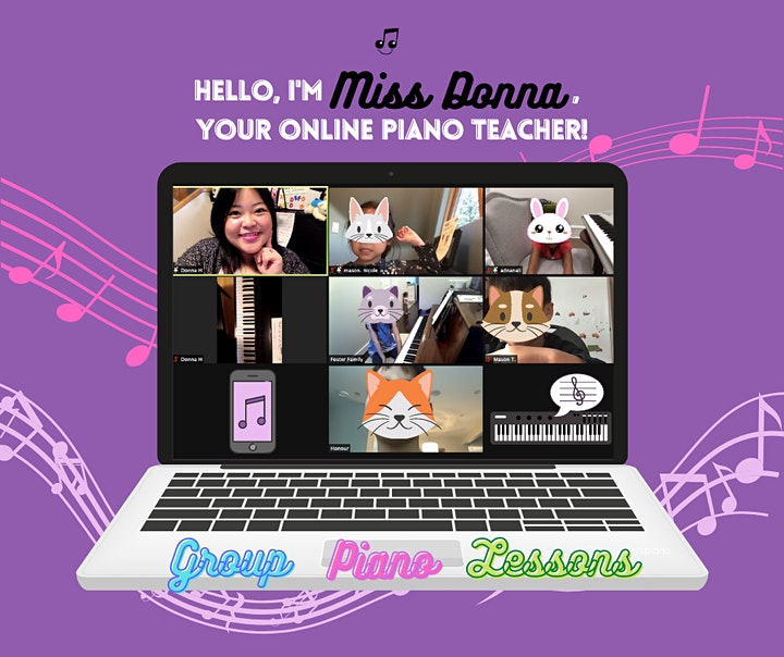 FREE Virtual Piano Party for Kids (Age 4.5-6): Intro to group piano lessons image