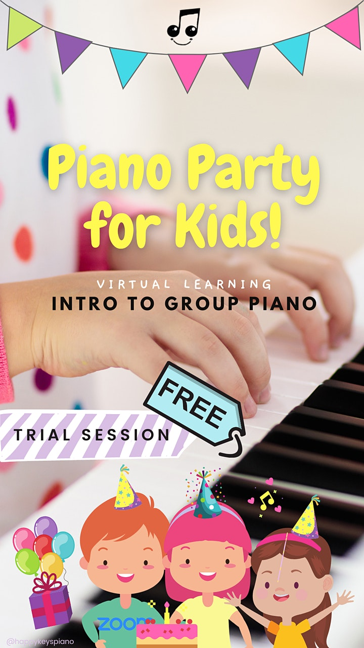 FREE Virtual Piano Party for Kids (Ages 7-11): Intro to group piano lessons image