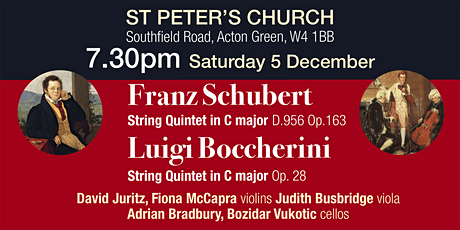 Schubert at St Peter's 7:30pm Saturday 5 December tickets