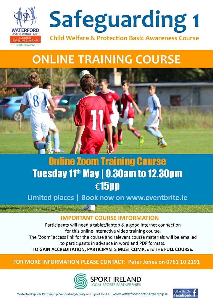 Safeguarding 1 Course - Online - 11th  May 2021 image