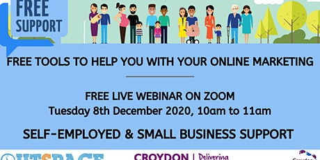 Free online live webinar - Tools to help you with Marketing your Business tickets