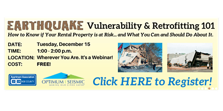 AAOC And Optimum Seismic Offer Free Workshop Dec. 15  On Earthquake Vuln tickets