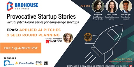 Badhouse Provocative Startup Stories - Pitch+Learn - Episode 5: Applied AI tickets