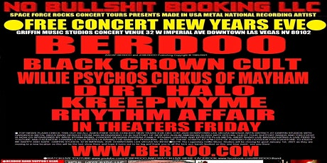 BERDOO Free Concert New Years Eve Downtown Las Vegas Nv Griffin Studios tickets