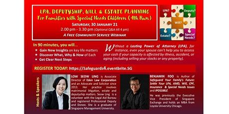 LPA, DEPUTYSHIP, WILLS, & ESTATE PLANNING for Families with Special Needs tickets