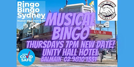 UNITY HALL HOTEL. RINGO BINGO SYDNEY. MUSICAL BINGO THURSDAYS 7PM PRIZES!! tickets
