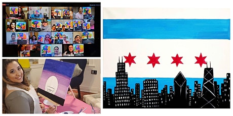 """Live Virtual Painting Class """"Chicago Flag Skyline"""" tickets"""