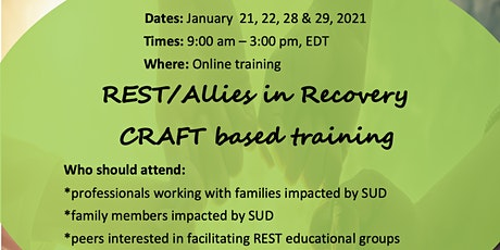 REST/Allies in Recovery CRAFT based training, Jan. 21, 22, 28, & 29 tickets