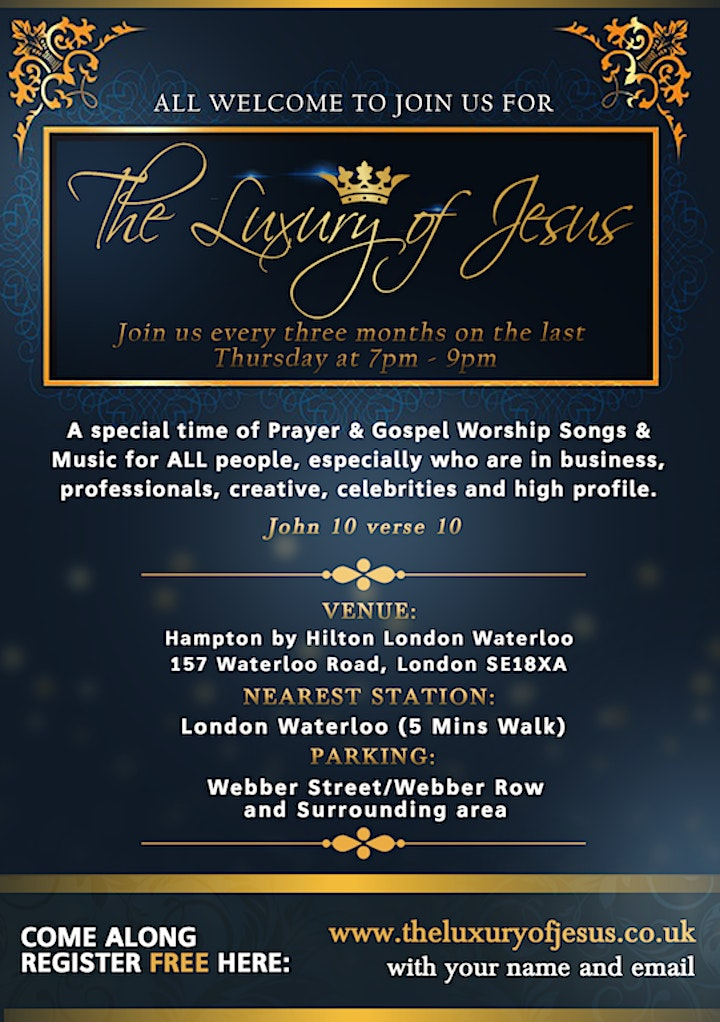 The Luxury of Jesus *MEETINGS HAS STOPPED* UNTIL FURTHER NOTICE (Still Prayer every Wednesday) image