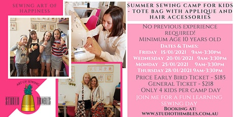 Sewing Boutique Camp for Kids – Tote bag with Applique and Hair Scrunchie! tickets