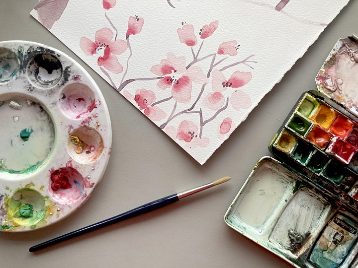 Watercolour February Challenge: 4 week online course image