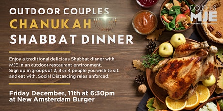 MJE Couples Outdoor Chanukah Shabbat Dinner at New Amsterdam Burger tickets