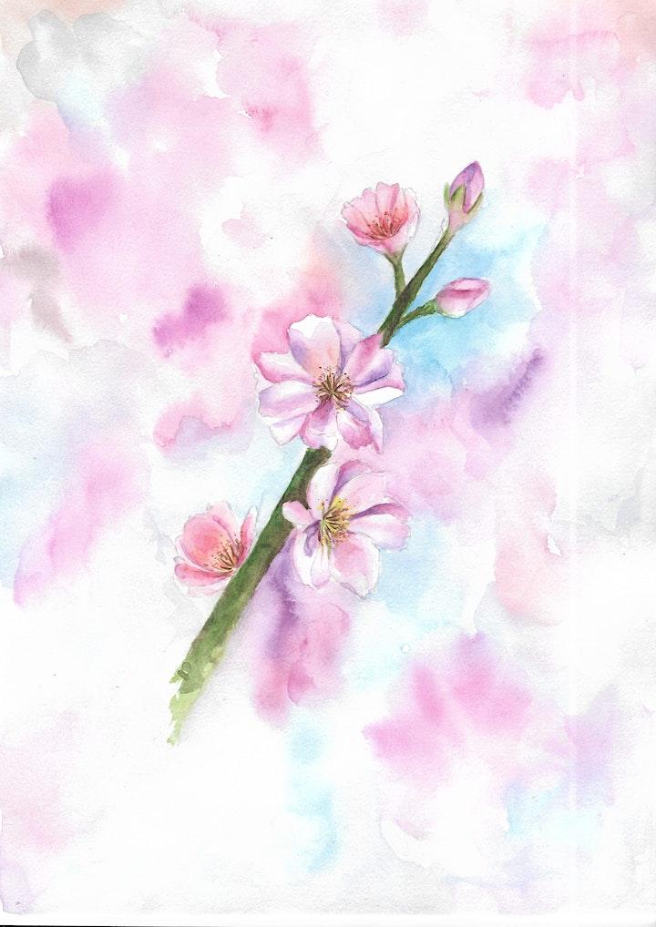 Sakura Watercolour Painting for beginners image