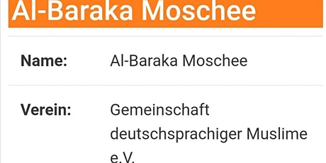 Freitagsgebet 11.12.2020 - Moschee Al-Baraka in Pforzheim Tickets