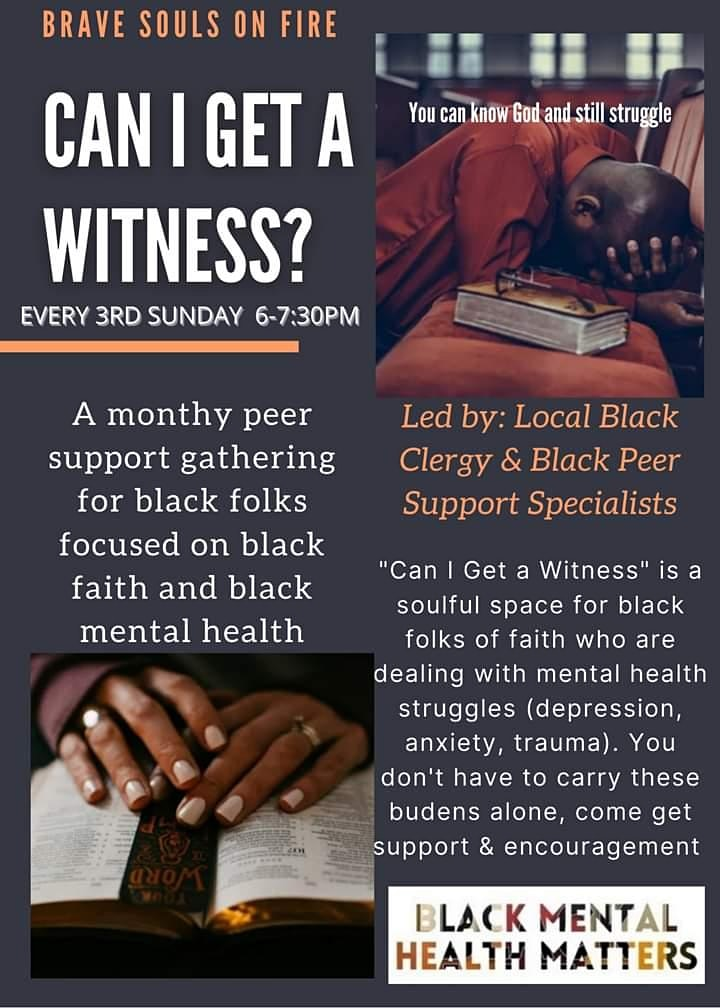 """Can I Get A Witness """" Black Faith &  Black Mental Health Support Group image"""