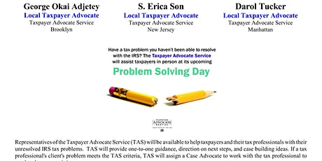 IRS/Taxpayer Advocate - Problem Solving Days - Virtual tickets