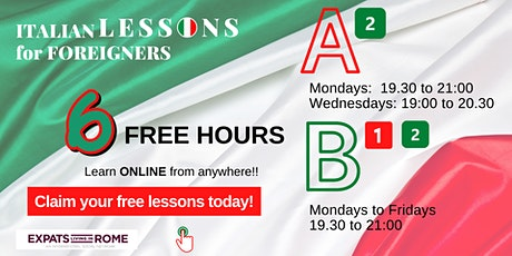 6 Free hours of Italian for foreigners | A2, B1 & B2 Level tickets