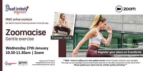 Zoomacise: Gentle exercise in January 2021 tickets